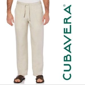 CUBAVERA LINEN-BLEND DRAWSTRING PANTS